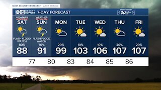 Monsoon storms continue into the weekend