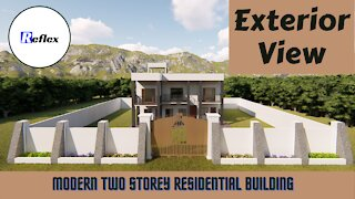 Exterior View of Modern Two Storey Residence Building | Reflex Architectural & Structural Designs