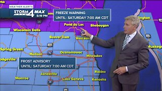 Friday evening is frosty with temps in the 30s