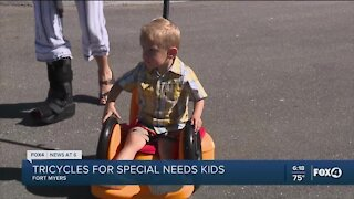Special needs children get customized tricycles