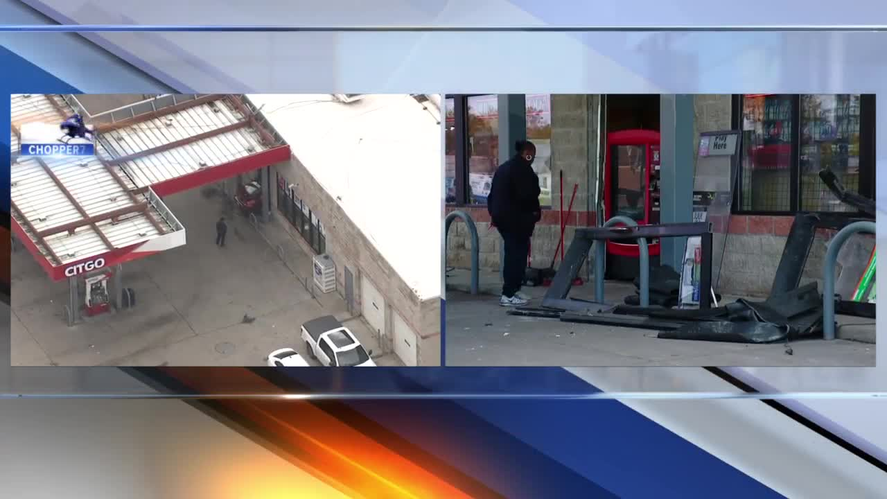 Car crashes into gas station in Detroit