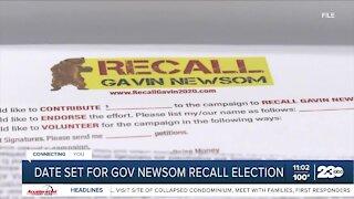 Date set for Governor Newsom Recall Election