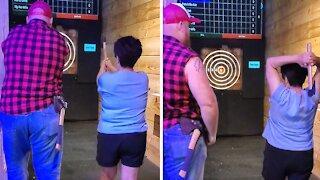Grandma gets bullseye on first ever axe throw