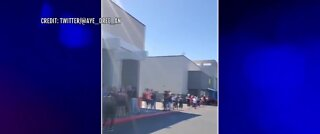 Shoppers line up outside Ross