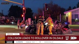 Rollover crash in Oildale pins driver into vehicle
