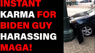 Biden Fan Gets INSTANT KARMA After Spitting On Trump Supporters!