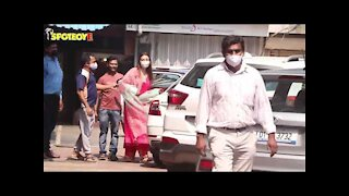 Kajal Aggarwal with Mom Snapped at their residence as they leave for her Wedding | SpotboyE