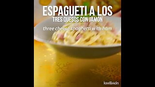 Spaghetti with Three Cheeses with Ham