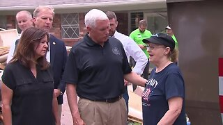 Vice President Mike Pence tours flooding damage in Tulsa County
