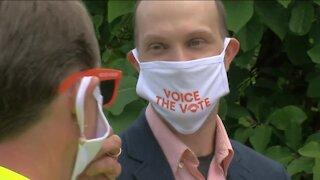 Drive-thru voter registration event at Miller Park