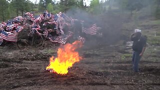 American Legion holds special flag retirement ceremony in the forest