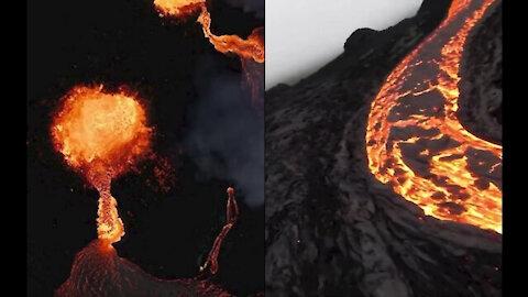 Iceland Volcano Drone Photage