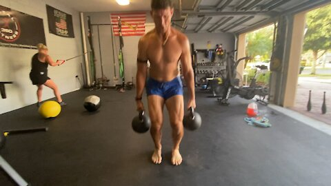 Compound Movement Combination KB High Pull Clean/Bear Crawl/Double KB Deadlift Jump Shrug