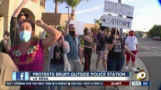 Protest erupts outside police station