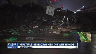 Wet roads lead to big rig truck crashes