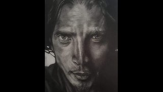 Time lapse drawing of Chris Cornell