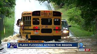 Flash flooding across the region