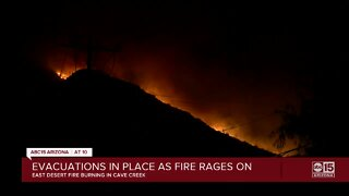 Evacuations in place as fire rages on