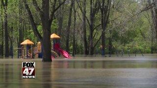 MSU baseball field under water as floods hit locally