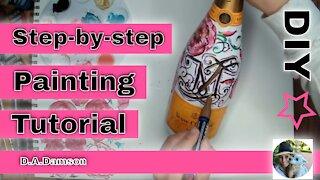 Bottle Painting Ideas Acrylic - Bottle DIY Painting Tutorial