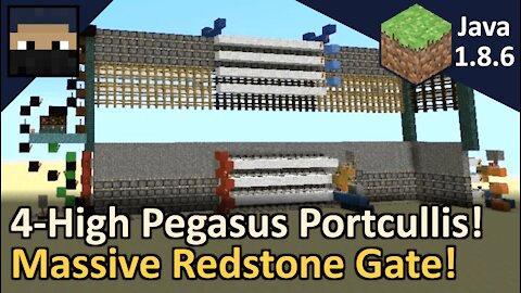 4-High Pegasus Portcullis Piston Gate! Minecraft Java 1.8.6