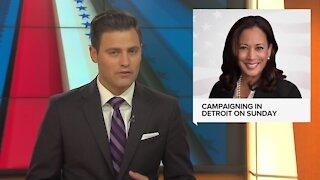 Kamala Harris campaigning in Detroit on Sunday