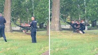 Police rescue buck stuck in hammock