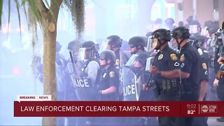 Law enforcement clear Tampa streets amid protests