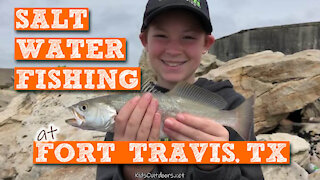 S2:E10 Saltwater Fishing at Fort Travis, TX | Kids Outdoors