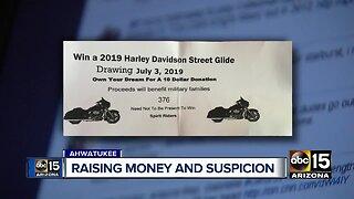 Motorcycle raffle for veterans raising money and suspicion
