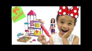 Toddler Stella Plays with Friends Barbie and Little Skipper Climb Explore Playground