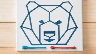 Geometric Bear / Tape Art / Masking Tape Painting ideas #27 / Satisfying Asmr