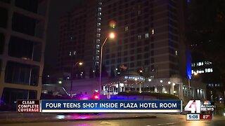 Four teens shot inside plaza hotel room