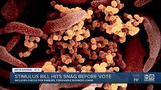 Stimulus bill hits snag before vote