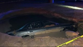 Drunk driver smashes into fire hydrant, creates sinkhole