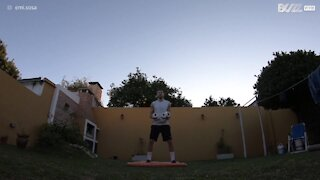 Toilet paper challenge owned with a back flip