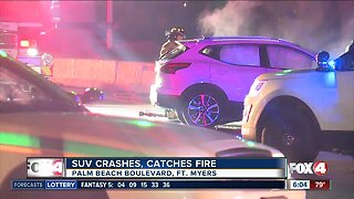 SUV crashes and catches fire in Fort Myers early Monday