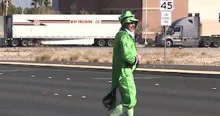 Police leprechaun in Las Vegas crosswalk