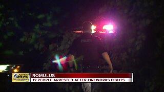 12 people arrested after fireworks fights