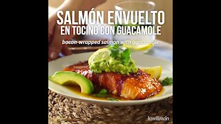Salmon Wrapped in Bacon with Guacamole