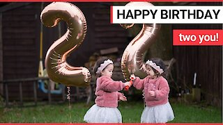 Twin sisters celebrate a birthday this weekend when they turn 2 on 2/2/2020
