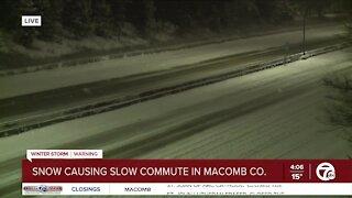 Snow causing problems on metro Detroit roads