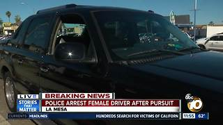 Female driver arrested after chase