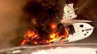 UPDATE: Raging yacht fire at Riviera Beach boat yard under control
