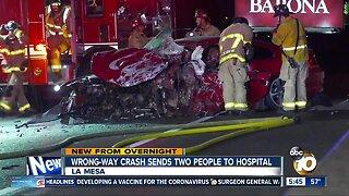 Wrong-way crash on I-8 sends 2 to hospital