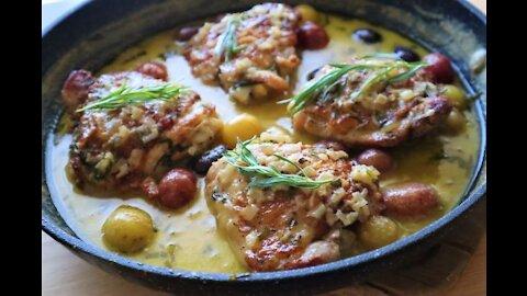 French Chicken Tarragon - Creamy Chicken Thighs Recipe