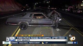 Violent crash in City Heights sends 3 to hospital