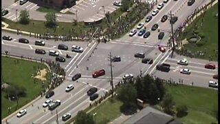 Aerial view of Avon protests
