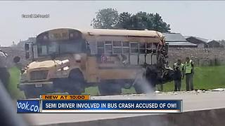 Truck driver arrested for OWI after crash with school bus