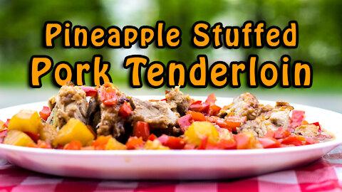 Dutch Oven Pineapple Stuffed Pork Tenderloin